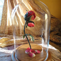 Beauty and the Beast Rose Enchanted Rose Disney Princess Belle Fairy Tale Glass Dome  Magic Pink Flower