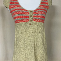Free People Women's Wool Blend Babydoll Sweater Small Tan Pink Short Sleeve