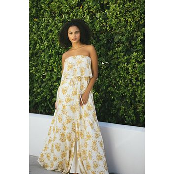 Hailey Floral Strapless Maxi Dress