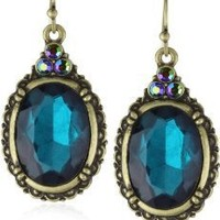 """1928 Jewelry """"Victorian Peacock"""" Blue Zircon Color Oval Faceted Earrings"""