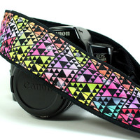 dSLR Camera Strap Bright Tribal Triangles by CoopersCollars