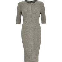 River Island Womens Grey ribbed bodycon 3/4 sleeve dress