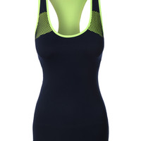 LE3NO Womens Active Sports Workout Seamless Racerback Tank Top (CLEARANCE)