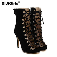Open Peep Toe Lace Up Heel Boots