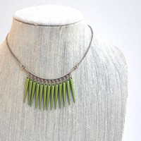 Green Necklace, Modern Short Cascade Necklace with Silver Chain and Lobster Clasp