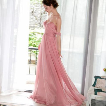1603 - soft chiffon, ruched bodice, floor length bridesmaid dress, low back, off the shoulder straps