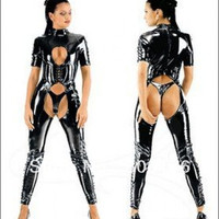 free shipping  FAUX LEATHER PVC CATSUIT FANCY DRESS OPEN CROTCH FETISH  LEATHER CATSUIT