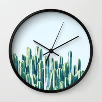 Cactus V2 #society6 #decor #fashion #tech #designerwear Wall Clock by 83oranges.com