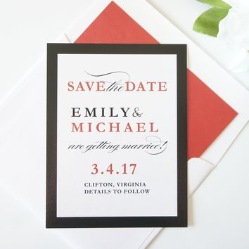 Modern Red Save the Date - DEPOSIT