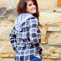 Drop The Tailgate Plaid Hooded Flannel // Shades of Grey