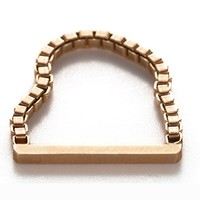Straight Bar Gold Chain Ring