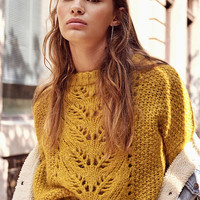 UO Devon Pointelle Knit Sweater | Urban Outfitters