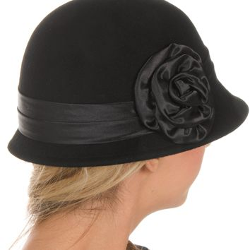 Sakkas Womens Vintage Style 100% Wool Cloche Bucket Bell Winter Hat with Flower