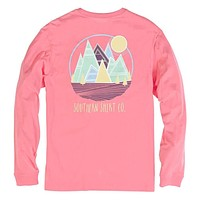 Patch Mountain Long Sleeve Tee in Salmon Rose by The Southern Shirt Co.
