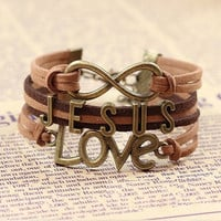 Jesus Love Infinity Leather Bracelet
