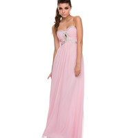 2014 Prom Dresses - Baby Pink Chiffon & Sequin Keyhole Gown