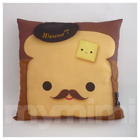 "16 x 16"" Pillow, Brown Pillow, Food Pillow, Mustache Pillow, Cotton Pillow, Kawaii Pillow, Accent Pillow, Kids Cushion, Decorative Pillow,"