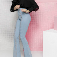 OUT ON BELL DENIM WIDE LEG PANTS