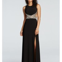 Open Back Prom Dress with Illusion Beaded Waist - Davids Bridal