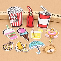 1Pcs Cartoon Pizza Chips Hamburg Fruit Icscream Motif Embroidered Patches Iron On Patch Badge DIY Clothing Applique