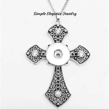 Cross Snap Necklace with Chain 20mm-Simple Elegance Jewelry