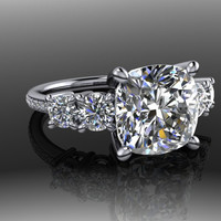 Five Stone Forever Brilliant Moissanite Engagement Ring -large stone options