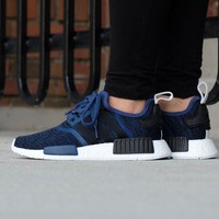 Best Online Sale Adidas NMD R1 Mystery Blue/Core Black Boost Sport Running Shoes Classic Casual Shoes Sneakers