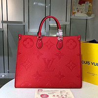 LV Louis Vuitton Women Monogram Leather Onthego Handbag Tote Bag