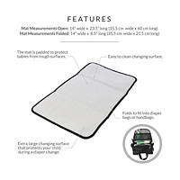 Obersee   Baby Portable Changing Pad   Baby Changing Mat   Padded Changing Station   Black