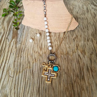 Pearl Cross Charm Necklace
