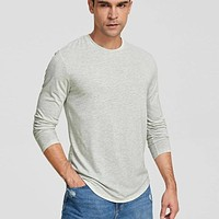Fashion Casual Men Heather Grey Solid Tee