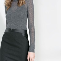 FAUX LEATHER COMBINATION SKIRT - Skirts - Woman | ZARA United States