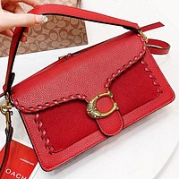 COACH New fashion leather shoulder bag crossbody bag handbag Red