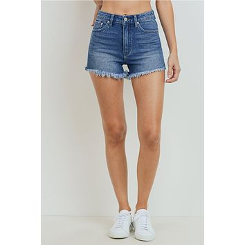 Hi Rise Fray Hem Shorts Medium Wash