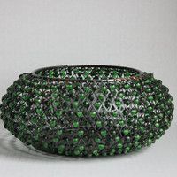 Beaded Metal Weave Basket Bowl, Decorative Vintage Acrylic Green Bead Bowl, Brass Copper Toned