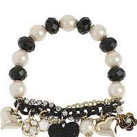 BetseyJohnson.com - BLACK HEART STRETCH BRACELET BLACK