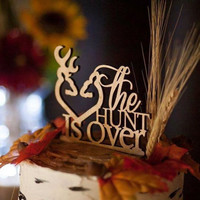 "Rustic wood cake topper ""The Hunt is Over"""