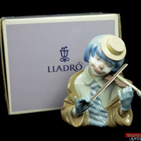 "Lladro Violin Playing ""The Blues"" Stripe Tie Blue Hair Clown Bust #5600 Boxed"