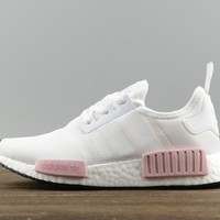 Adidas NMD R1 White / Pink BY1916 Sport Running Shoes Classic Casual Shoes Sneakers Boost