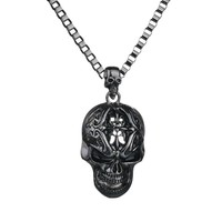 Gothic Black Big Skull Pendant Steampunk Necklace