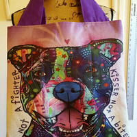Pitbull - pittie - dog - lover - canvas - lined tote