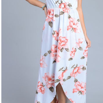 Floral Print Short Sleeve Maxi Dress