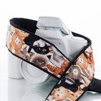 dSLR Camera Strap, Kitty, SLR, Mirrorless, Cats & Kittens, Canon, Nikon, Quick Release, Camera Neck Strap, Photography, Padded, 239