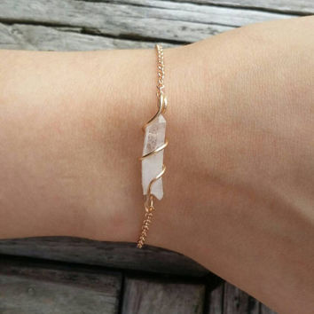 Clear Quartz Wire Wrapped Bracelet Natural Bohemian Pagan Wicca Bracelet Hippie/Boho/Crystals/Reiki/Summer