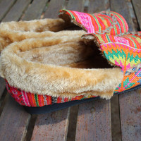 Womens Slippers Moccasin Style Ethnic Hmong Pink Embroidered With Plush Lining Gift