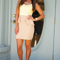 Classy Never Looked So Good Dress: Yellow/Tan | Hope's