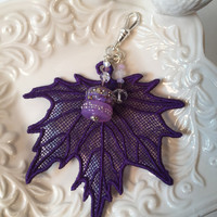 Purse Charm, Bag Charm, Keyring decor, purple lace leaf, lampwork glass art beads, crystals