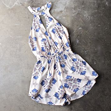 Printed Open Back Halter Romper With Tassels Detailing
