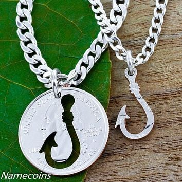 Fish Hook couples necklaces, Hand Cut Coin