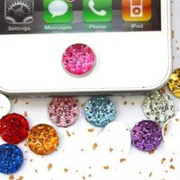 Top ishop 5piece Crystal Rhinestone Iphone Home Button Sticker in Clear Plastic ...